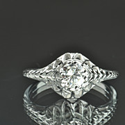 Vintage Solitaire Engagement Ring / .40 Carat