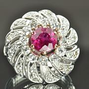 2.87 Carat Diamond and Pink Tourmaline Vintage Ring