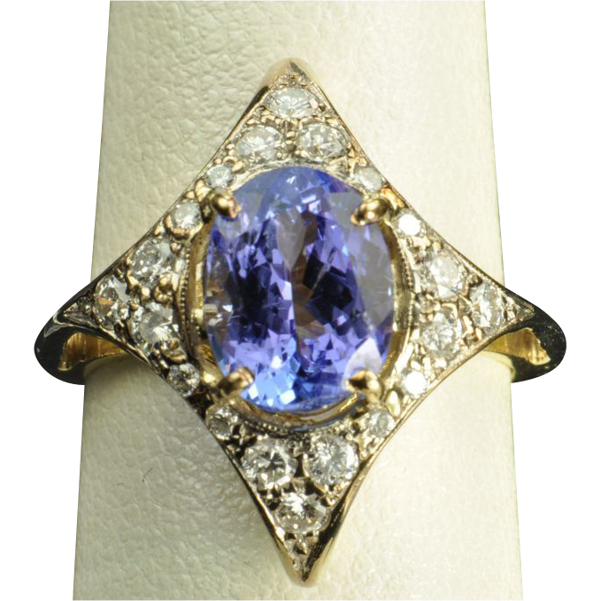 2 6 Carat Tanzanite And Diamond Ring From Timelessantiques