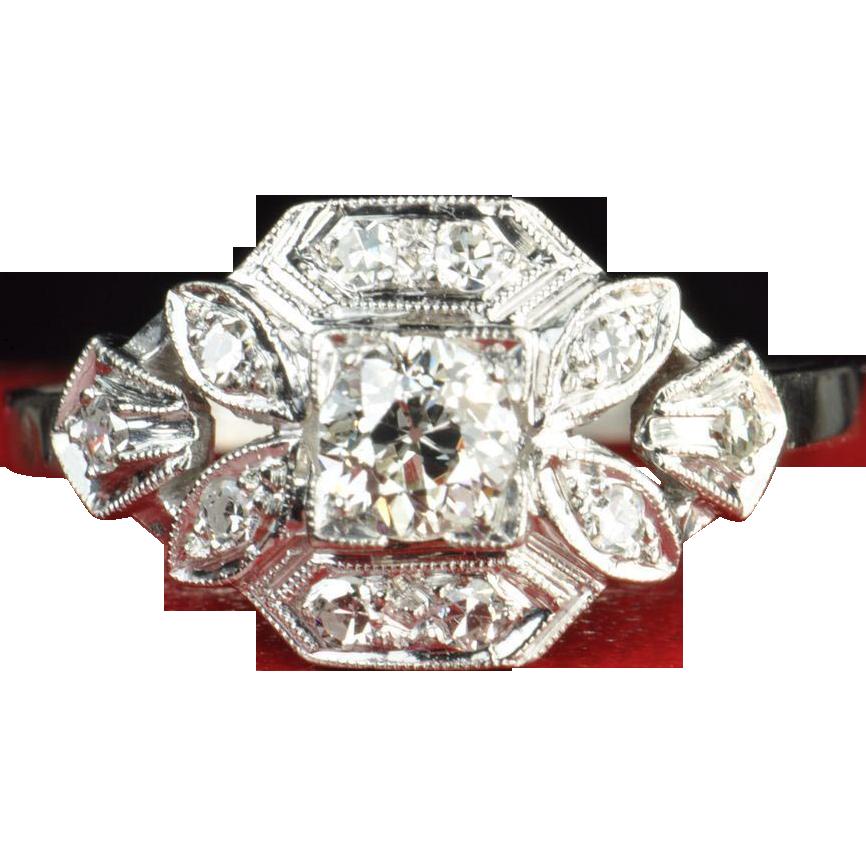 Old European Cut Diamond Wedding / Engagement Ring