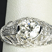 .90 Carat Old European Cut Diamond Engagement / Wedding Ring