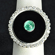 Vintage Diamond, Emerald and Onyx Ring