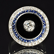 Diamond, Sapphire and Onyx Ring