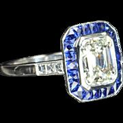 3.73 Emerald Cut Diamond and Sapphire Ring / EGL Certified
