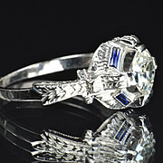 1.23 Carat Old European Cut Diamond and Sapphire Ring