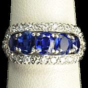 Vintage 2.5 Carat Sapphire and Diamond Wedding Ring