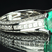 3.67 Carat Emerald and Diamond Ring