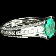 3.67 Carat Emerald and Diamond Ring