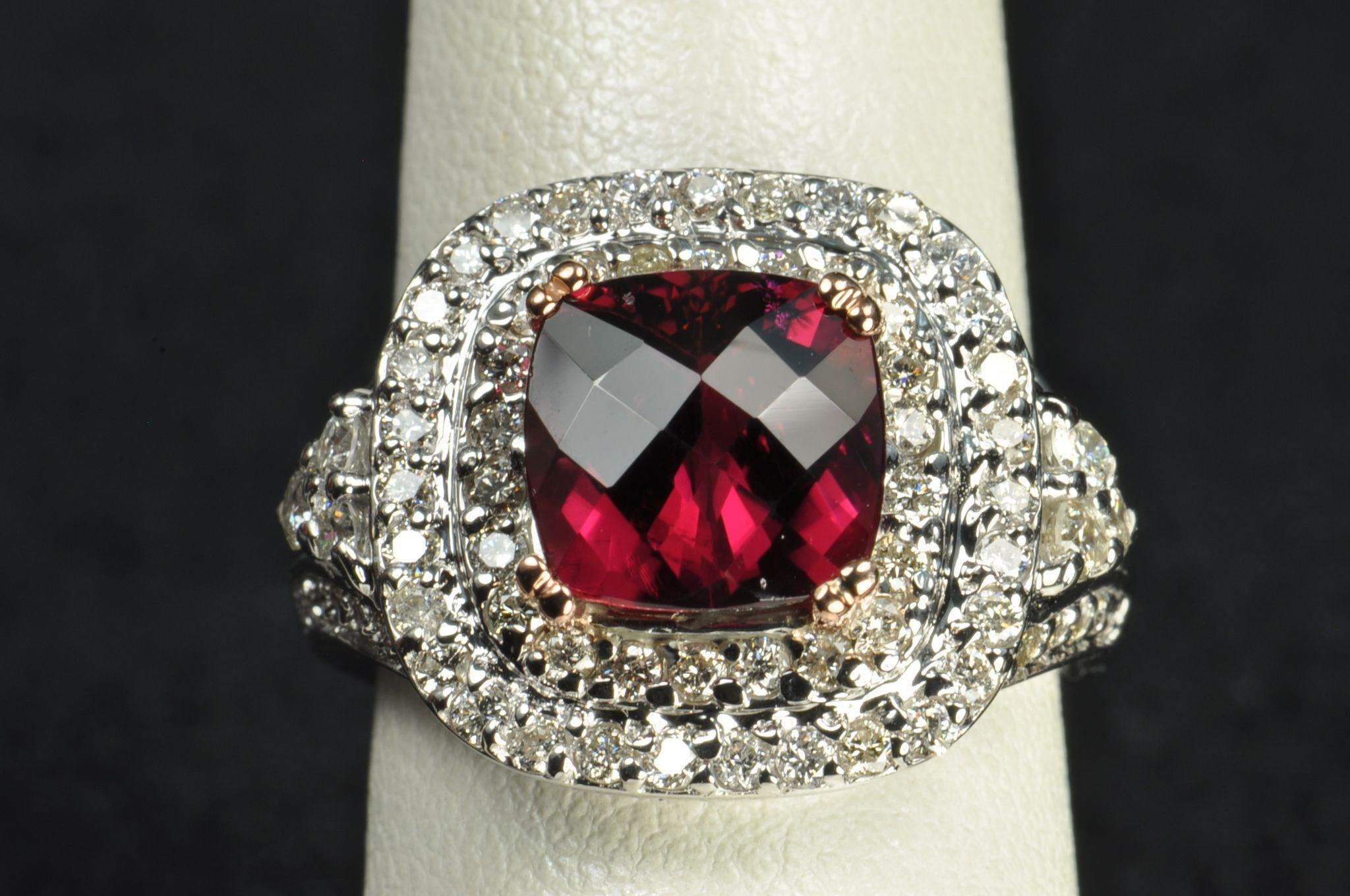 3 5 Carat Diamond And Rubellite Tourmaline Ring From