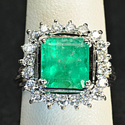 4 Carat Emerald and Diamond Ring