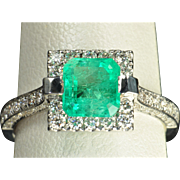 2.26 Carat Emerald and Diamond Ring