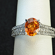 2.82 Carat Mandarin Orange Garnet and Diamond Ring