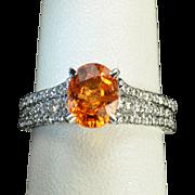 2.82 Carat Mandarin Orange Garnet and Diamond Ring