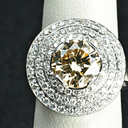 4.39 Carat Fancy Yellow/Brown Diamond Ring / 3.22 Carat Center / Clearance Priced