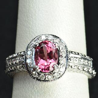1.25 Carat Pink Tourmaline and Diamond Ring