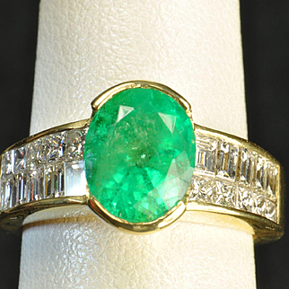3.45 Carat Emerald and Diamond Ring