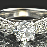 1.52 Carat Diamond Engagement Ring / 1.01 Carat Center / CLEARANCE SALE!!