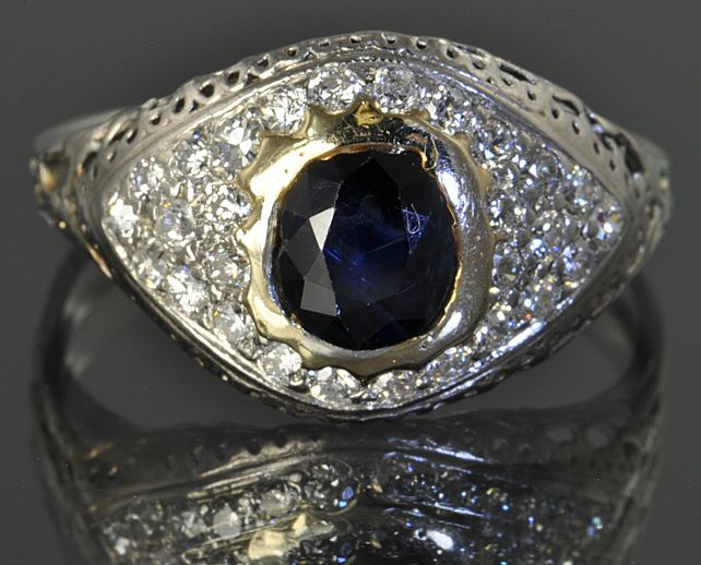 1.25 Carat Art Deco Diamond and Sapphire Ring