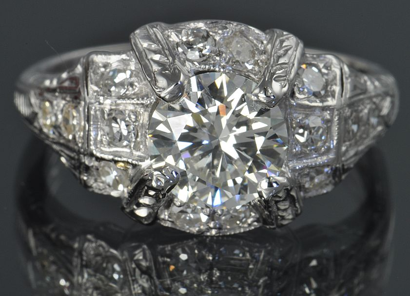 1.47 Carat Deco Style Diamond Ring / 1.05 Carat Center / EGL Certified