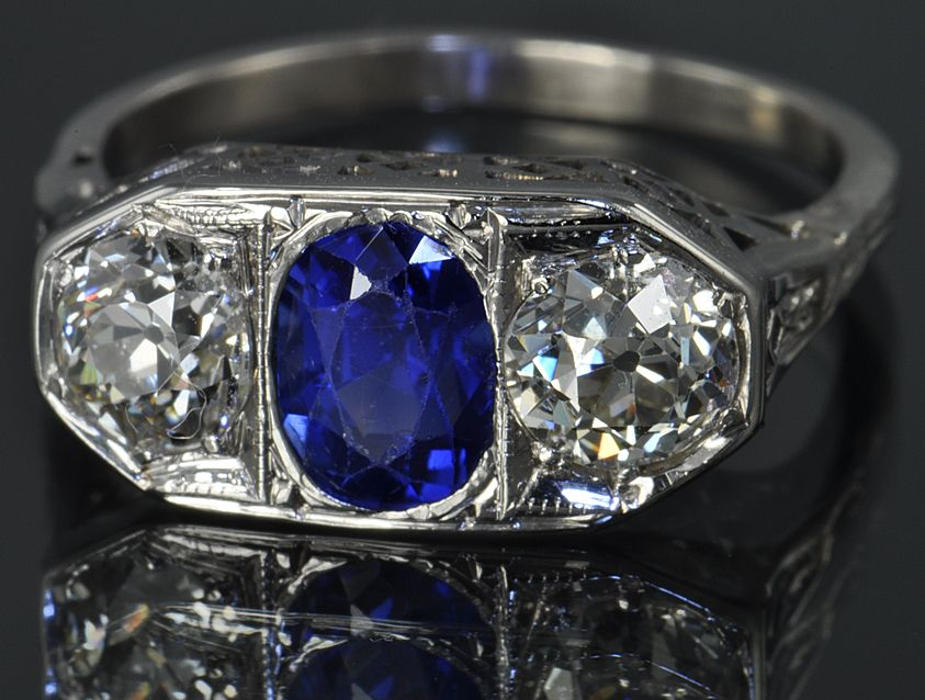 1.75 Carat Diamond and Sapphire Ring / CLEARANCE SALE !!!