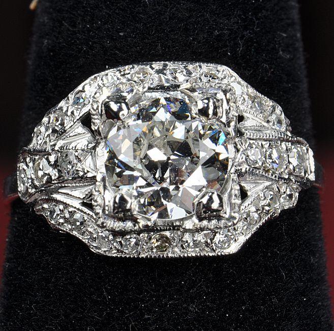 1.80 Carat Old European Cut Diamond Ring / 1.32 Center/ GIA Certified