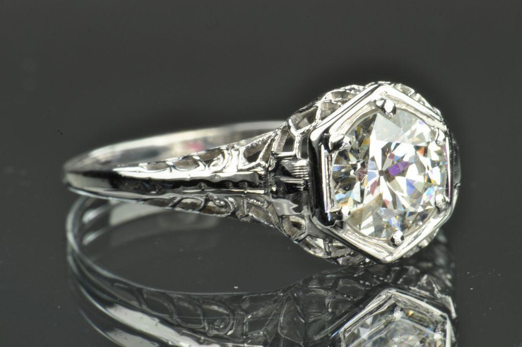 .96 Carat Edwardian Style Solitaire Engagement Ring