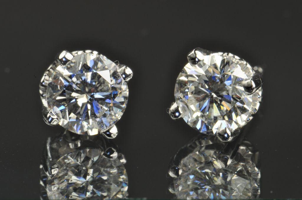2.01 Carat Diamond Stud Earrings / EGL Certified