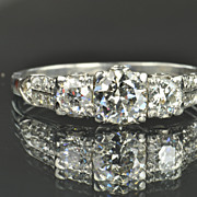 1.5 Carat Old European Cut Diamond Ring / .70 Carat Center