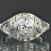 1.31 Carat Old European Diamond Ring / 1.13 Center / EGL Certified