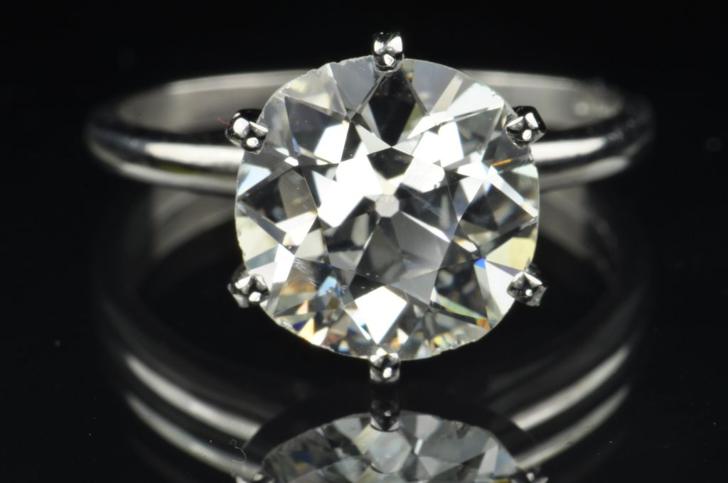 4 24 Old Mine Cut Diamond Solitaire Ring Egl Certified