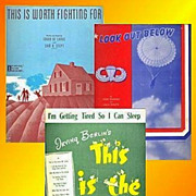 Three Pieces WWII Era Sheet Music, Look Out Below and More, Marked 50% Off