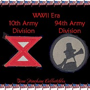 WWII Era 10th & 94th Army Division Patches, Marked 50% Off