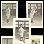 1910 F.Bluh Lady Carpenter & Four 1911 H.I.R. Lady Baker Postcards, Marked 50% Off