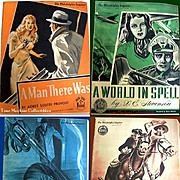 Four 1941-42 Philadelphia Inquirer Sunday Novels--A World In Spell, The Navy Colt, Wild Harvest, A Man There Was