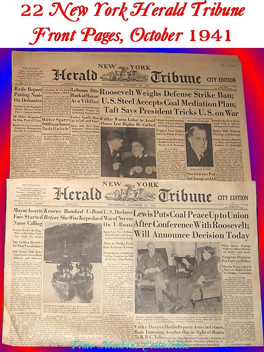 WWII Era New York Herald Tribune Front Pages, October 1941