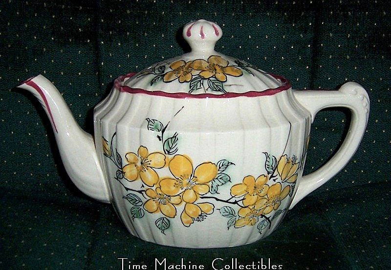Vintage Occupied Japan Yellow Flowered Teapot