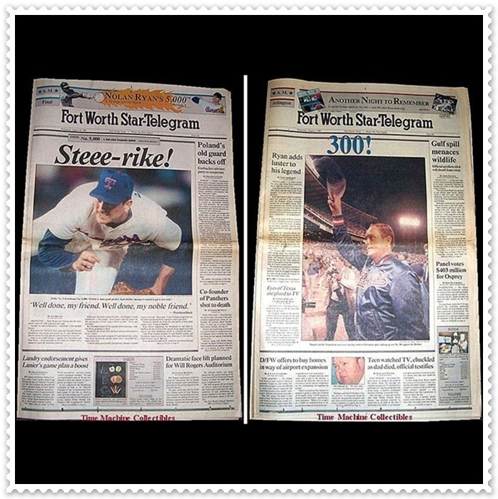 Nolan Ryan, 1989 5,000th Strike-Out & 1990 300th Win Papers