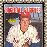 Official 1973 Baseball Register, Wilbur Wood & Al Kaline, by Sporting News, Marked 50% Off