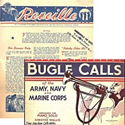 1943 Bugle Calls of the Army, Navy and Marine Corps Book & 1940's Reveille Paper, Marked 50% Off