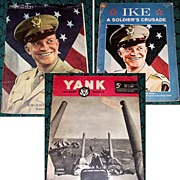 1945 WWII Yank Magazine & Sunday News Gen. Eisenhower Photo, & 1969 Ike..a Soldier's Crusade Book