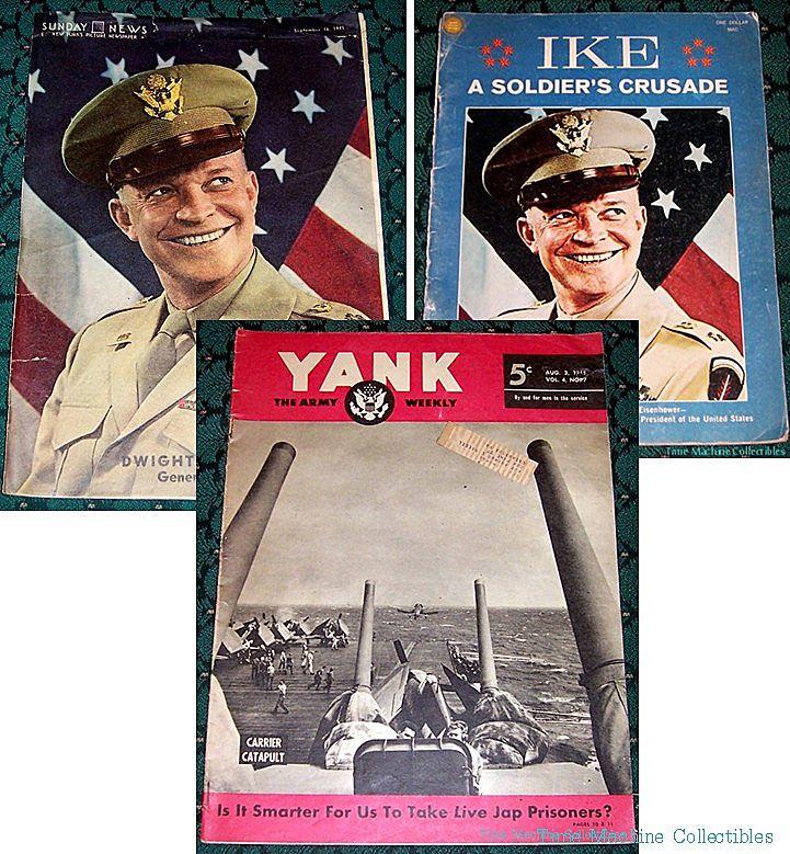 1945 WWII Yank Magazine & Sunday News Gen. Eisenhower Photo, & 1969 Ike..a Soldier's Crusade Book