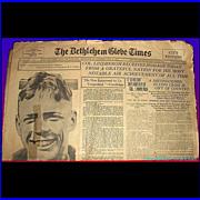 1927 America Welcomes Charles Lindberg Home Paper, June 11, 1927, Bethlehem Globe Times