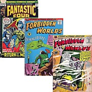1972 Fantastic Four Comic, No. 124, & Two Forbidden World Comics, 1957-No. 61, 1966-No. 139, Marked 50% Off