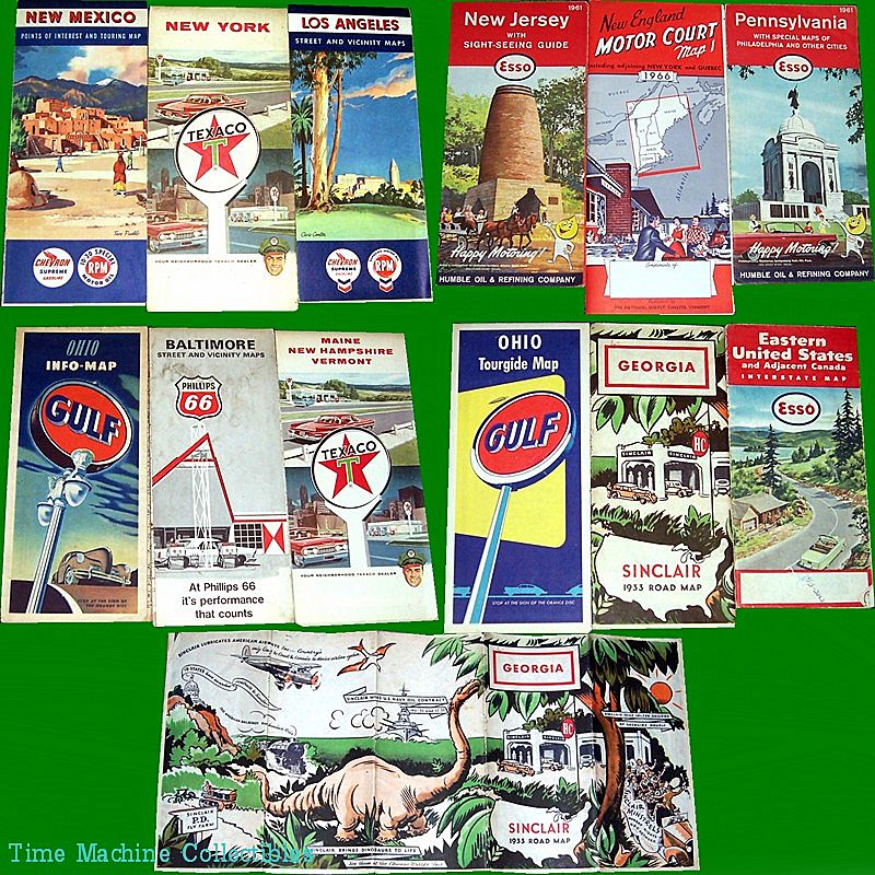Twelve U.S. Road Maps, 1930's thru 1960's