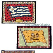 1900's Tobacco Felt Flags of Greece, Cuba and China