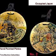Two Occupied Japan Water Wheel/Mill House Hand Painted Paper Mache Plates, Marked 50% Off