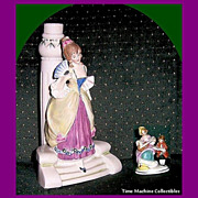 Beautiful Victorian Style Young Lady Figurine and Lady & Boy Placecard Holder, Both Germany, Marked Over 50% Off