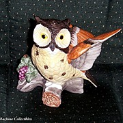 Beautifully Painted Pottery Owl on Branch Figurine, Marked 50% Off