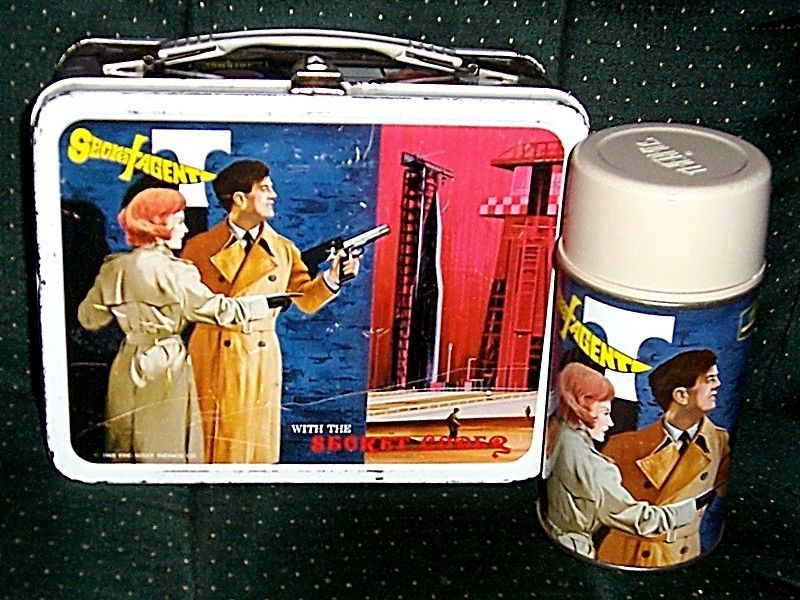1968 Secret Agent Metal Lunchbox and Thermos, Marked Over 50% Off