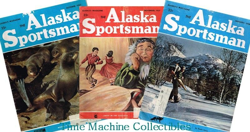 Three 1950's Alaska Sportsman Magazines